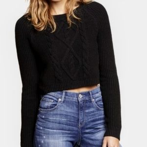Express   Cropped Cable Knit Sweater